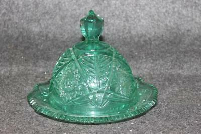 "Vintage Green Glass Covered Butter Cheese Pressed Glass Dish 7.25"" X 5.5"""