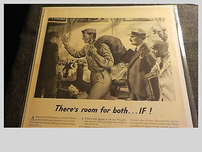 1942 Pullman Train Ad  There's Room For Both ...if!