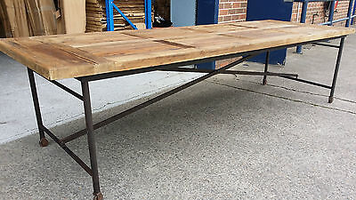 New French Industrial Recycled Vintage Rustic Timber Trestle Dining Table - 2.5M