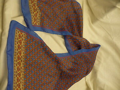 """blue red beige small desing Scarf wrap kerchief 11"""" 50"""" long S110"""