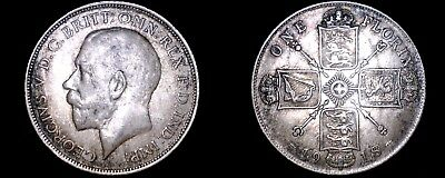 1918 Great Britain 1 Florin World Silver Coin - UK - England - George V