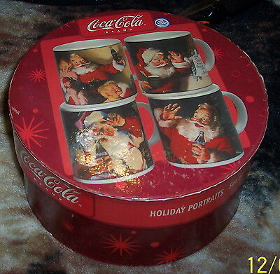Coca - Cola Brand Set Of Four Haddon Sunbloom Holiday Portraits Stoneware Mugs