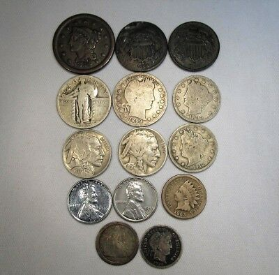 Vintage US Coin Lot 14pc Large Indian Steel Liberty Silver Seated Barber C684
