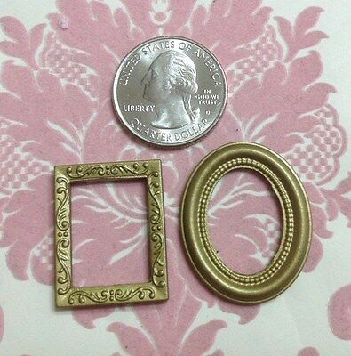 "Dollhouse Miniature Mini Gold Plastic 1"" Retangle/Oval Picture Art Frame 2 pcs"