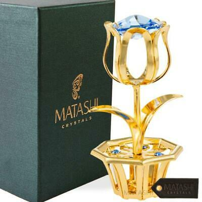 24k Gold Plated Tulip Flower Gift for Mother's Day with Blue Matashi Crystals