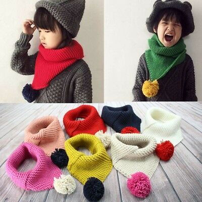 Boys Girls' Lovely Baby Kid Fashion Knitted Scarf Autumn Winter Warm Solid Scarf