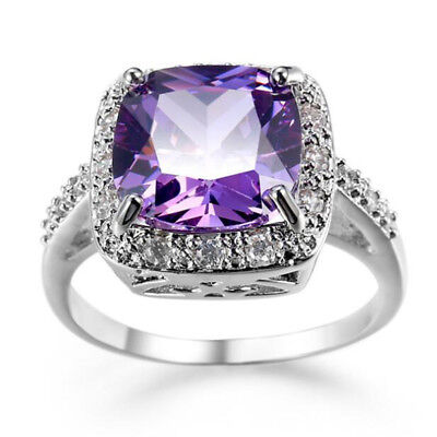 Wedding Gift Square Cut Natural Purple Amethyst Gems Silver Ring Size 6 7 8 9 10