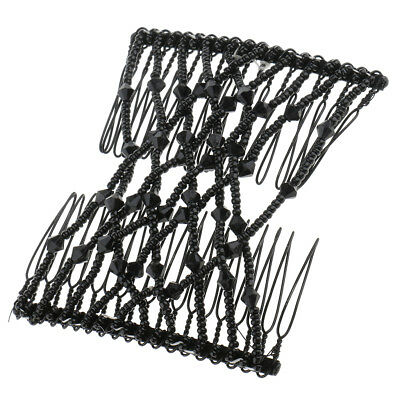 Black Butterfly Beads Double Hair Comb Clip Stretchy Women Hair Accessories