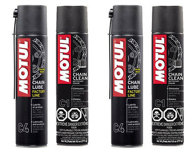 Motul C4 Chain Lube Grasso Spray Racing Road + C1 Clean Pulitore Catena 2 Kit