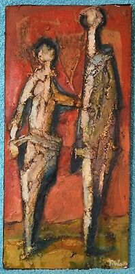 Tadeusz Was Polish Abstract Two Figures Fine Impasto Oil Board Painting Signed