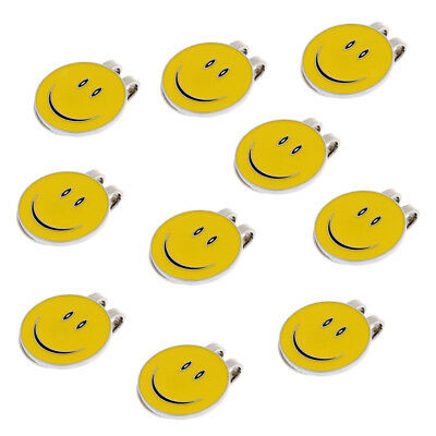 10 Pieces Smile Face Magnetic Hat Clip with Golf Ball Marker Golfer Gift