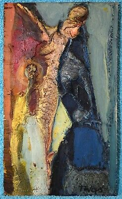 Tadeusz Was Polish Abstract Figure Fine Impasto Oil On Board Painting Signed