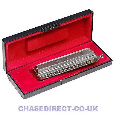 Stagg Chromatic Harmonica 12 Hole 48 Tone Key of C Chrome Plated With Hard Case
