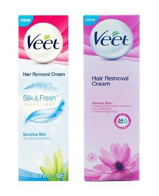 Veet Hair Removal Cream 100ml for Sensitiv & Normal Skin 24 Hour Moisturisation