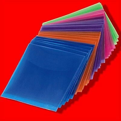 100X Plastic Coloured Clear Cd Dvd Sleeves Wallets Cover Case 80Mic Tuck In Flap