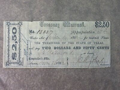 1862 Treasury Warrant Austin Texas Military Service Confederate CSA Note VF