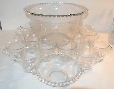 VINTAGE Imperial Glass Candlewick Bubble Punch Bowl Set w/14 Cups + HANDLED DISH