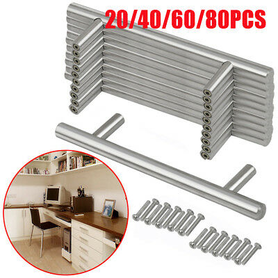Lot 20/40/60/80PCS Stainless Steel Pull Bar Handle For Drawer Kitchen Cabinet