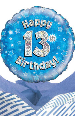 Happy 13th Birthday Blue Balloon In A Box Gift Delivered Personalised Message