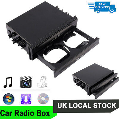 NEW !! Car Truck Double Din Radio Pocket Drink-Cup Holder Storage Box UK Kit