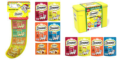 Dreamies Christmas Stocking And Dreamies Gift Tin Xmas Festive Treats For Cats