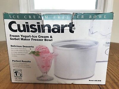 NEW Cuisinart ICE-RFB 1+1/2Qt Freezer Bowl Frozen Yogurt Sorbet Ice-Cream Maker