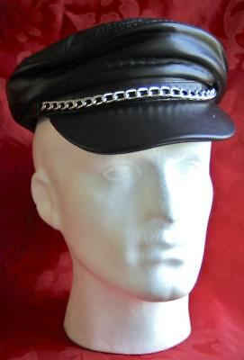 GENUINE LEATHER PEAKED BIKER HAT / CAP WITH CHAIN ONE SIZE UP TO 58cm,s