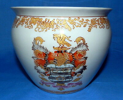 Chinese Hand Made Painted Signed Gold / Koi Fish & Crest Design Bowl Vase