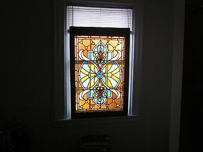 c.1890 Victorian Antique Stained Glass Window, 29 jewels, crack free