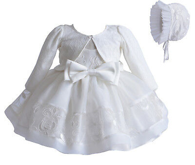 New Baby Girls 3 Piece Ivory Lace Christening Gown Party Dress 6-9 Months