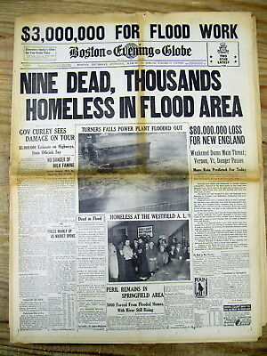 Lot of BEST 14 1936 hdln display newspapers THE GREAT NEW ENGLAND FLOOD Disaster