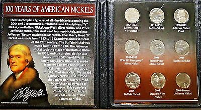 100 Years of American Nickels Collection,9 Coins H23