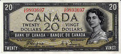 Bank Of Canada  1954 Devil Face $20.00  -  Uncirculated