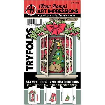 Art Impressions Mini Tryfolds Winter Window Stamps Set - Christmas Tree, Cat