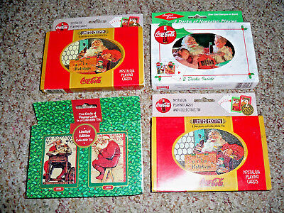 (4) Tins (8 Decks) Sealed Coca-Cola & Norman Rockwell Santa Claus Playing Cards!