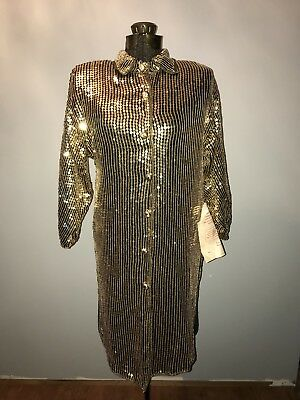 NWT Vintage Jewel Queen Silk Gold Metallic Sequined Shirt Jacket Small 80s Disco