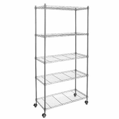 Commercial 5 Tier Shelf Adjustable Wire Metal Shelving Rack w/Rolling Chrome