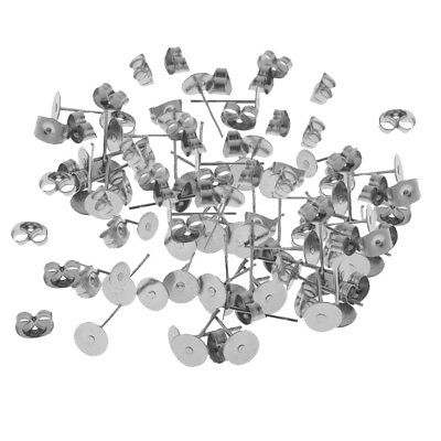 60 Pairs Silver Stainless Steel Hypoallergenic Stud Back Stoppers Ear Pin
