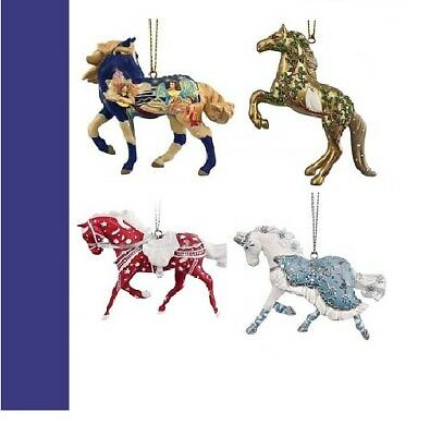 PAINTED PONIES - Christmas Set of 4 - 2017 - ORNAMENTS - Free Shipping!