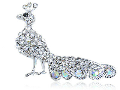 Tiny Peacock Tail Feather Clear Crystal Rhinestone Silver Tone Bird Pin Brooch