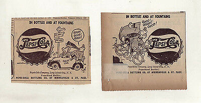Pepsi Cola Cops - Pepsi & Pete - Lot of 2 comic ads for Pepsi-Cola from May 1947
