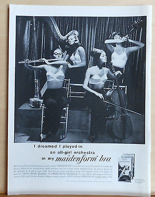 1960 magazine ad for Maidenform Bra - I dreamed I played in All Girl Orchestra
