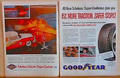 1955 two page magazine ad for Goodyear - Jimmy Lynch Death Dodgers color photo