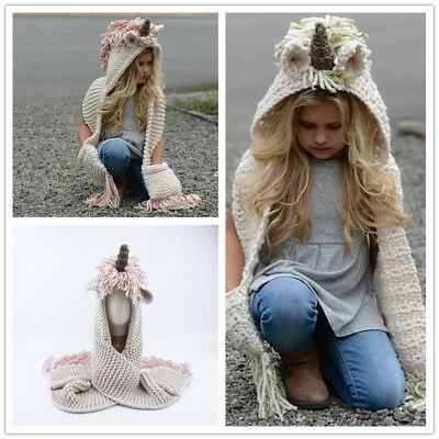 Kids The Hooded Scarf Hat Knitted Braided Skiing Scarves Snood Wraps