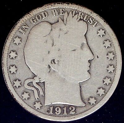 1912-P Barber 90% Silver Half Dollar Very Good Circ.