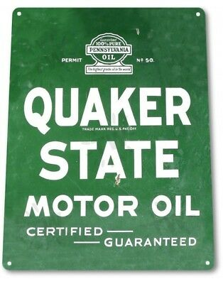 QUAKER STATE MOTOR OIL Vintage Retro Tin Metal Sign