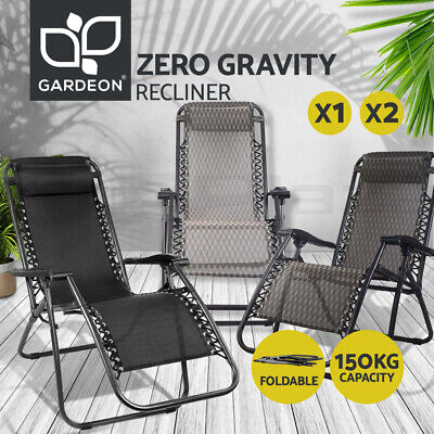 Zero Gravity Portable Recliner Lounge Foldable Outdoor Camping Beach Chair Black