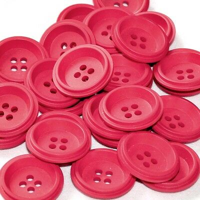 mercerie lot de 5 boutons plastique rouge 26mm button