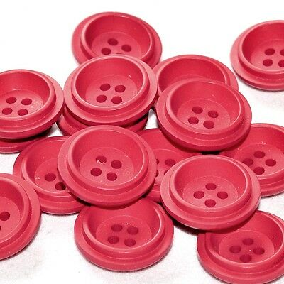 mercerie lot de 5 boutons plastique rouge 21mm button
