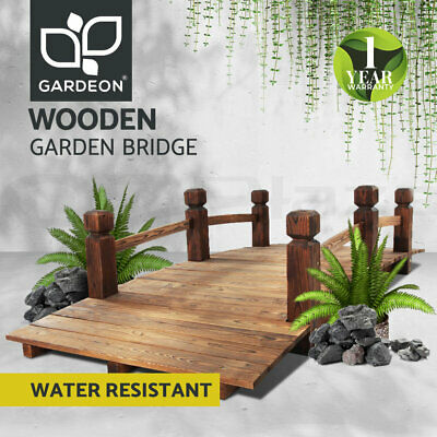 Garden Wooden Rustic Bridge Decoration Decor Outdoor Landscape 160cm Length Rail